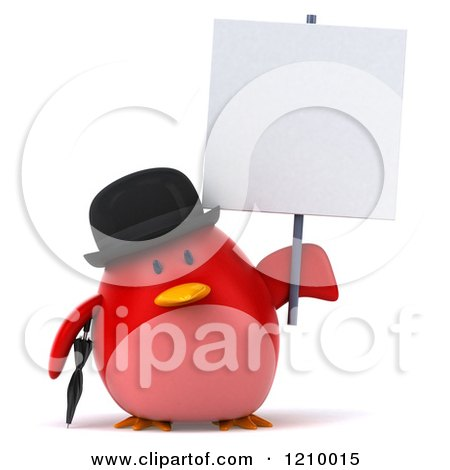 Clipart of a 3d Chubby Red Bird Wearing a Bowler Hat and Holding a Sign - Royalty Free CGI Illustration by Julos
