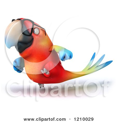 Clipart of a 3d Bespectacled Macaw Parrot Running 3 - Royalty Free CGI Illustration by Julos