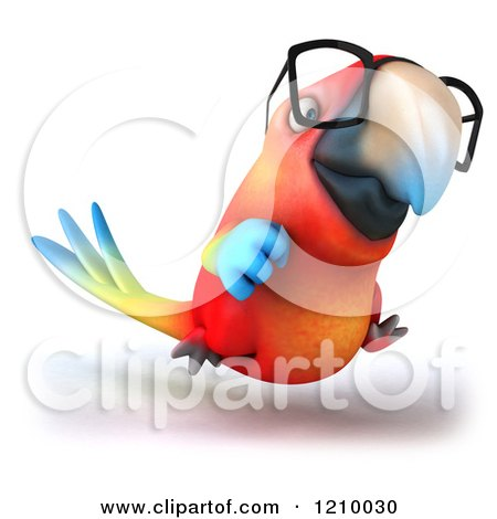 Clipart of a 3d Bespectacled Macaw Parrot Running 2 - Royalty Free CGI Illustration by Julos