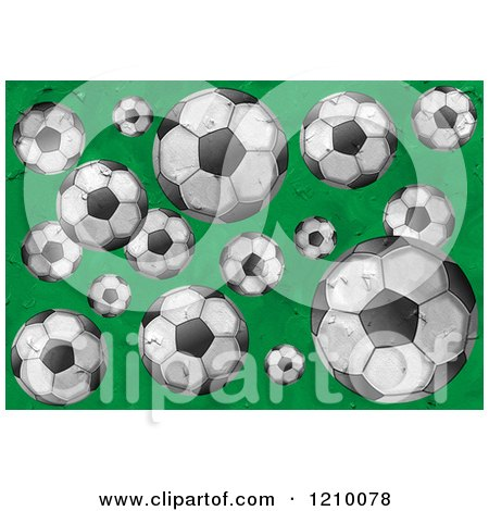 Cartoon of Textured Soccer Balls on Green - Royalty Free Clipat by Prawny