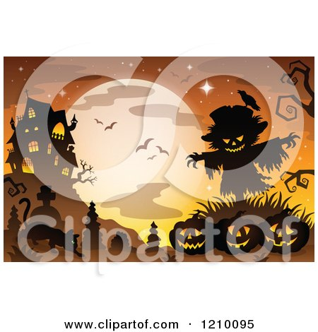Cartoon of a Cat Scarecrow and Halloween Jackolanterns Against a Full Moon and Haunted Mansion - Royalty Free Vector Clipart by visekart