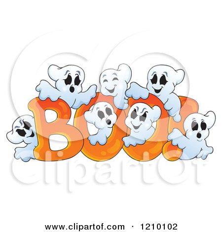 Cartoon Of The Word Boo And Ghosts Royalty Free Vector Clipart