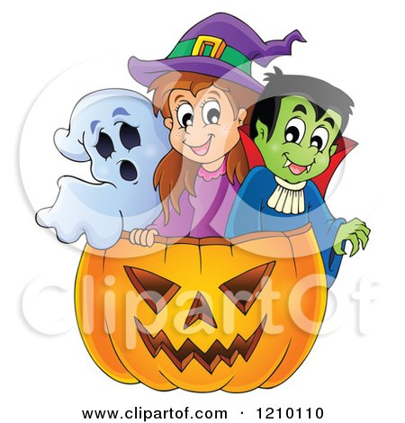 Cartoon of a Ghost Witch and Vampire in a Halloween Jackolantern Pumpkin - Royalty Free Vector Clipart by visekart