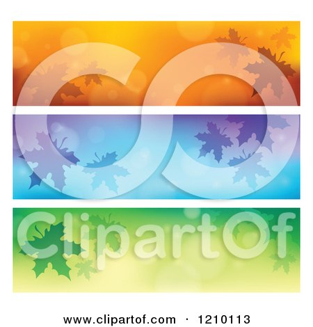 Clipart of Autum Leaf and Flare Website Banners - Royalty Free Vector Illustration by visekart