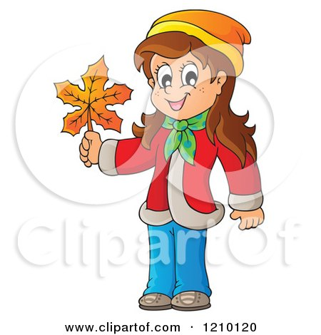 Cartoon of a Happy Girl Holding an Autumn Leaf - Royalty Free Vector Clipart by visekart
