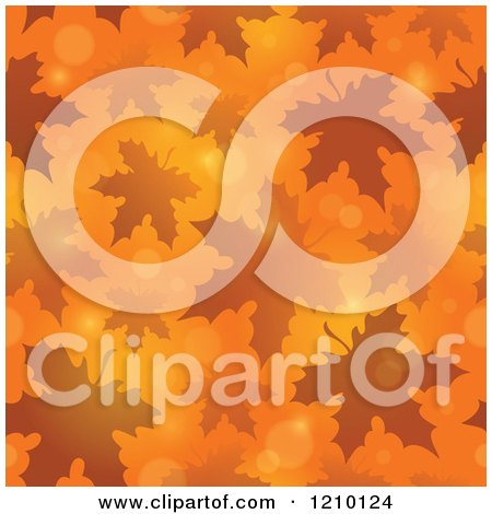 Clipart of a Seamless Background of Autumn Leaves and Flares on Orange - Royalty Free Vector Illustration by visekart