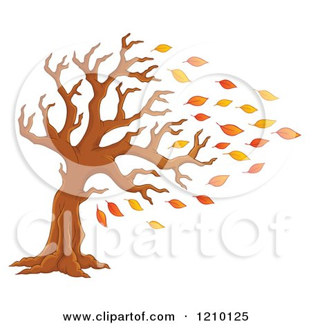 Cartoon of a Tree Being Stripped of Autumn Leaves in a Breeze - Royalty Free Vector Clipart by visekart