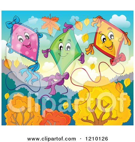 Cartoon of Happy Kites over Autumn Trees - Royalty Free Vector Clipart by visekart