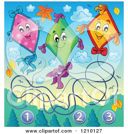 Cartoon of Happy Numbered Kites and Clouds with Autumn Leaves - Royalty Free Vector Clipart by visekart