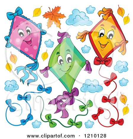 Cartoon of Happy Colorful Kites and Clouds with Autumn Leaves - Royalty Free Vector Clipart by visekart
