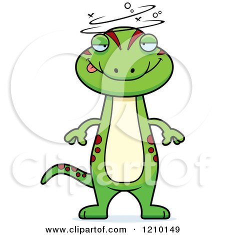 Cartoon of a Drunk Skinny Gecko - Royalty Free Vector Clipart by Cory Thoman
