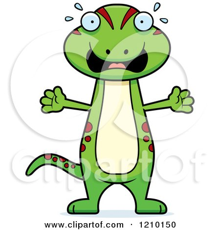 Cartoon of a Scared Skinny Gecko - Royalty Free Vector Clipart by Cory Thoman
