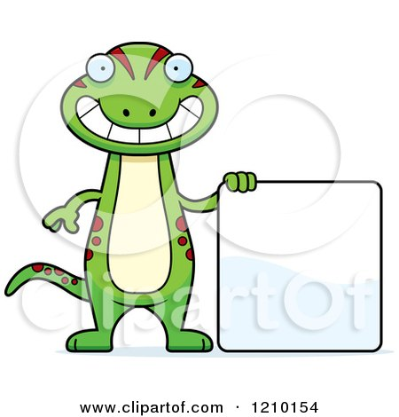 Cartoon of a Skinny Gecko with a Sign - Royalty Free Vector Clipart by Cory Thoman
