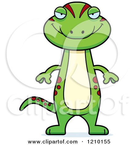 Cartoon of a Sly Skinny Gecko - Royalty Free Vector Clipart by Cory Thoman