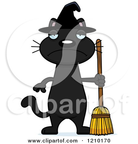 Cartoon of a Depressed Black Halloween Witch Cat - Royalty Free Vector Clipart by Cory Thoman