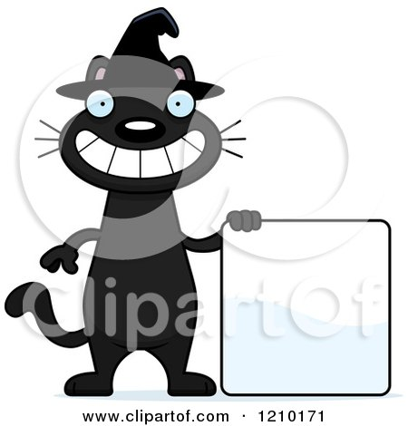 Cartoon of a Black Halloween Witch Cat with a Sign - Royalty Free Vector Clipart by Cory Thoman