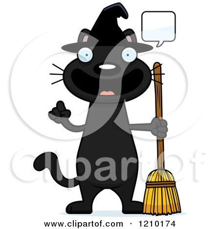 Cartoon of a Talking Black Halloween Witch Cat - Royalty Free Vector Clipart by Cory Thoman