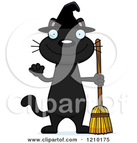 Cartoon of a Black Halloween Witch Cat Waving - Royalty Free Vector Clipart by Cory Thoman