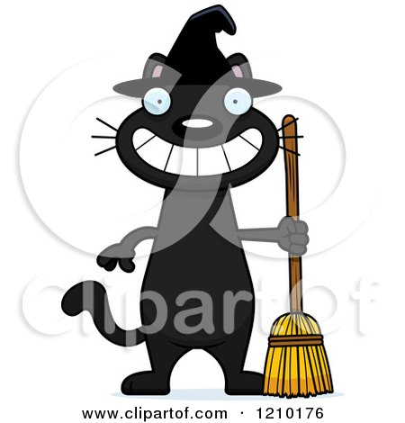 Cartoon of a Grinning Black Halloween Witch Cat - Royalty Free Vector Clipart by Cory Thoman