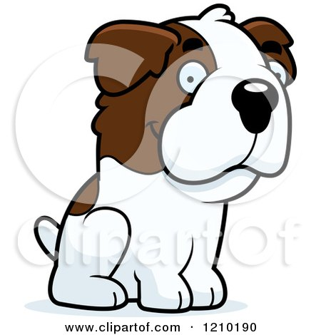 Cartoon of a Sitting St Bernard Dog - Royalty Free Vector Clipart by Cory Thoman