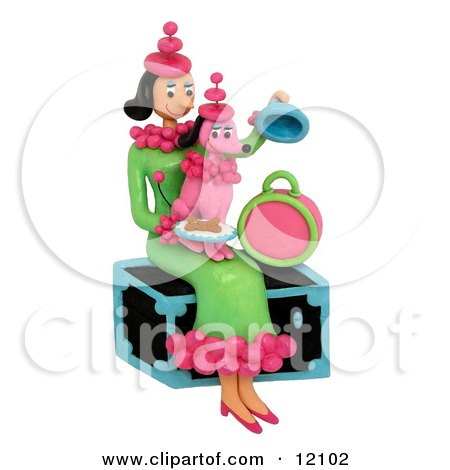 Woman holding pink poodle with matching outfit sitting on trunk Posters, Art Prints
