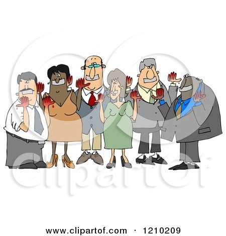 Cartoon of Anti Syrian War Activist People with Blood on Their Hands and Tape over Their Mouths - Royalty Free Clipart Illustration by djart