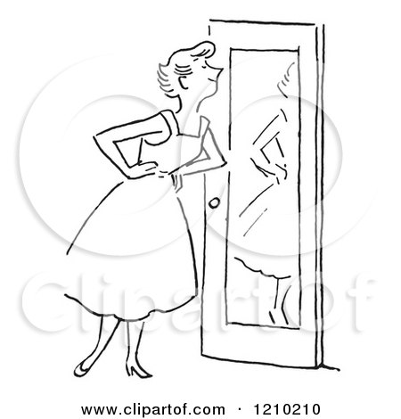 Clipart of a Black and White Lady Smiling at Herself in a Door Mirror - Royalty Free Vector Illustration by Picsburg