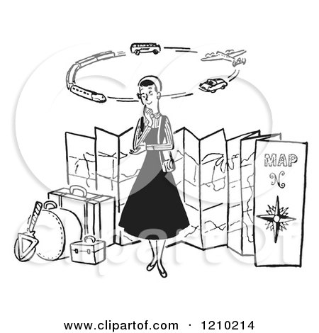 Clipart of a Lady Thinking of Modes of Transportation to Embark on Her Traveling Journeys - Royalty Free Vector Illustration by Picsburg