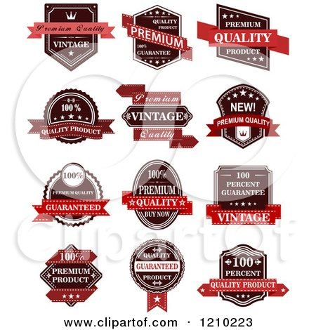 Clipart of Vintage Quality Guarantee Labels - Royalty Free Vector Illustration by Vector Tradition SM