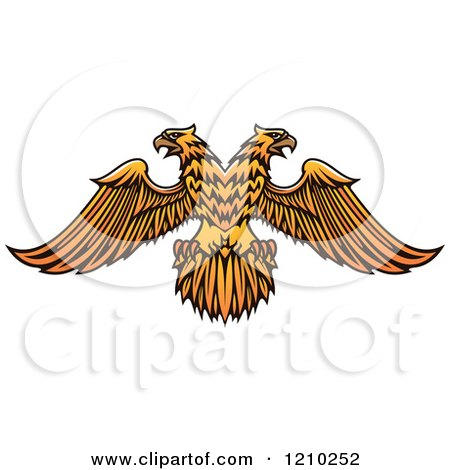 Clipart of a Golden Heraldic Double Headed Eagle - Royalty Free Vector Illustration by Vector Tradition SM
