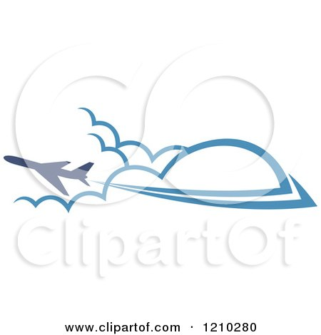 Clipart of a Blue Airplane Flying over Clouds 4 - Royalty Free Vector Illustration by Vector Tradition SM