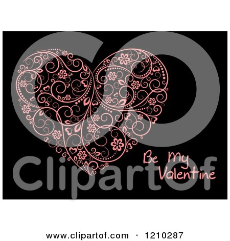Clipart of a Pink Floral Heart and Be My Valentine Text on Black - Royalty Free Vector Illustration by Vector Tradition SM