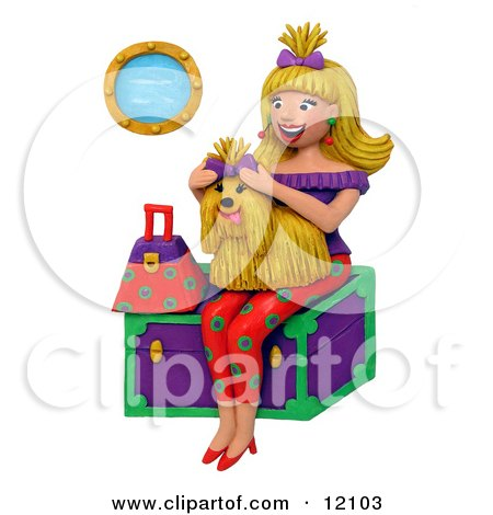 Clay sculpture of a woman holding a shih tzu sitting on a trunk Clipart Picture by Amy Vangsgard