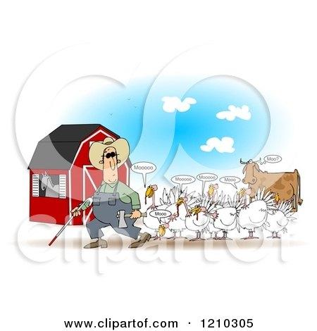 Cartoon of a Blind Farmer and Mooing Turkey Birds near a