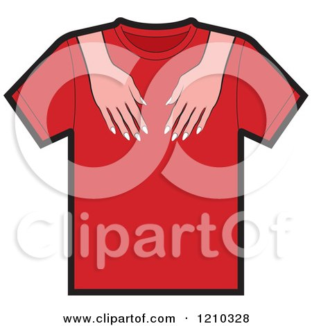 Clipart of a T Shirt with Female Hands - Royalty Free Vector Illustration by Lal Perera