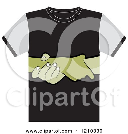 Clipart of a T Shirt with Helping Hands - Royalty Free Vector Illustration by Lal Perera