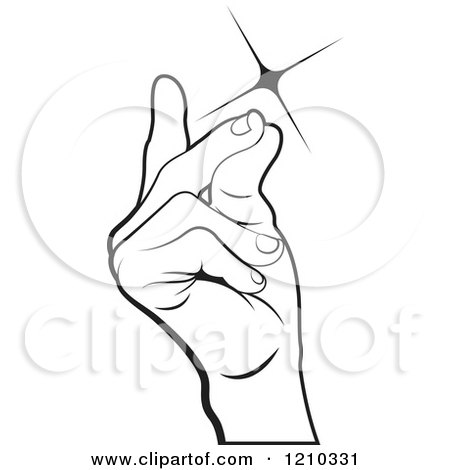 Clipart of a Black and White Hand Snapping Fingers - Royalty Free Vector Illustration by Lal Perera