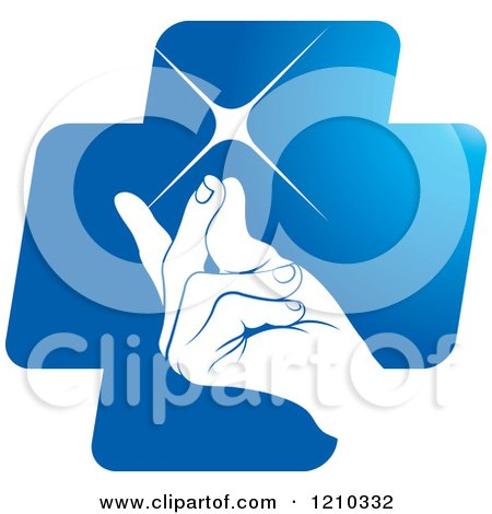 Clipart of a Hand Snapping Fingers on a Blue Cross - Royalty Free Vector Illustration by Lal Perera