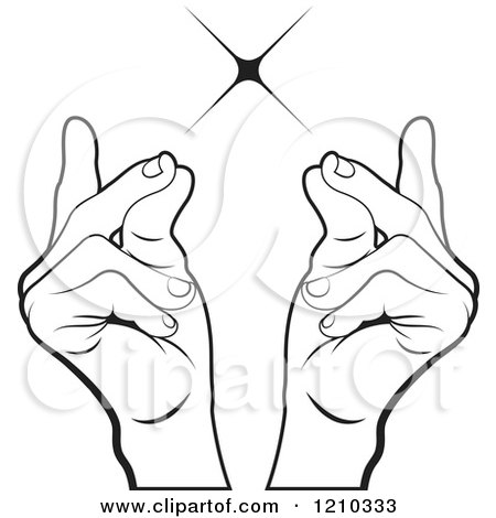 Clipart of Black and White Hands Snapping Fingers - Royalty Free Vector Illustration by Lal Perera