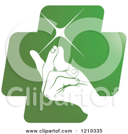 Clipart of a Hand Snapping Fingers on a Green Cross - Royalty Free Vector Illustration by Lal Perera