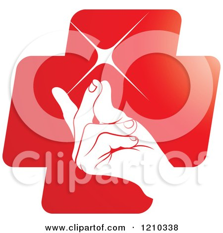 Clipart of a Hand Snapping Fingers on a Red Cross - Royalty Free Vector Illustration by Lal Perera
