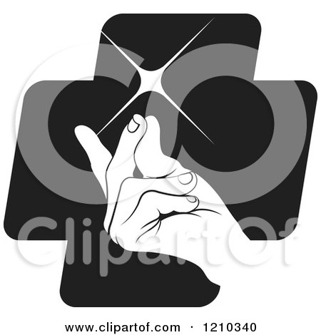 Clipart of a Hand Snapping Fingers on a Black Cross - Royalty Free Vector Illustration by Lal Perera
