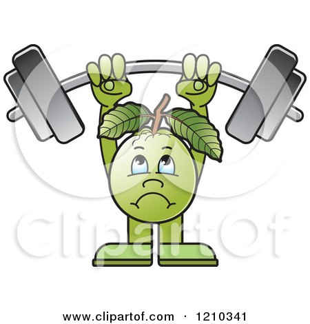 Clipart of a Guava Mascot Lifting a Barbell - Royalty Free Vector Illustration by Lal Perera