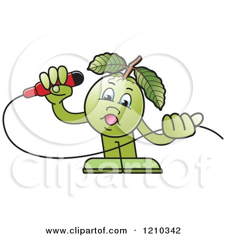 Clipart of a Guava Mascot Singing - Royalty Free Vector Illustration by Lal Perera