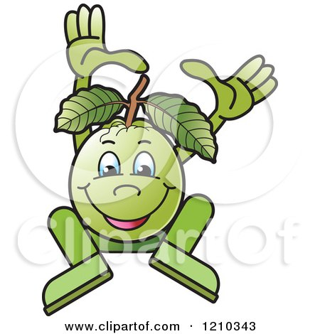 Clipart of a Guava Mascot Dancing or Jumping - Royalty Free Vector Illustration by Lal Perera