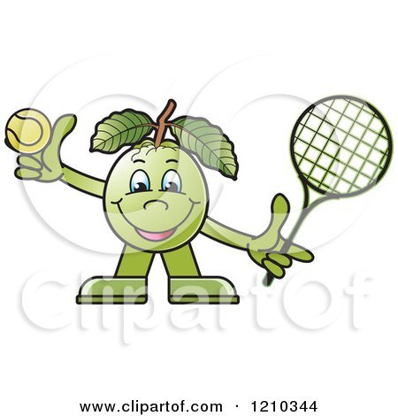 Clipart of a Guava Mascot Playing Tennis - Royalty Free Vector Illustration by Lal Perera