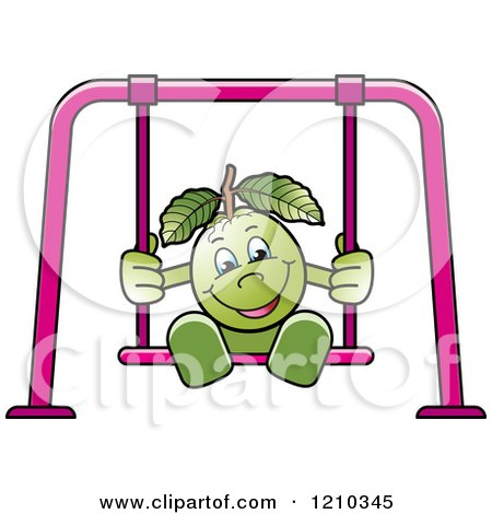 Clipart of a Guava Mascot on a Swing - Royalty Free Vector Illustration by Lal Perera