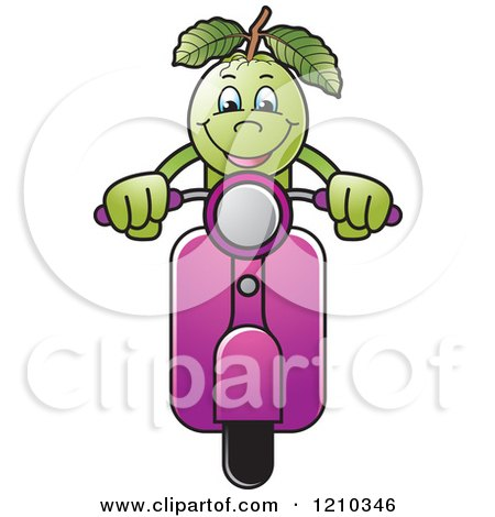 Clipart of a Guava Mascot on a Scooter - Royalty Free Vector Illustration by Lal Perera