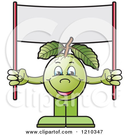 Clipart of a Guava Mascot Holding up a Banner Sign - Royalty Free Vector Illustration by Lal Perera