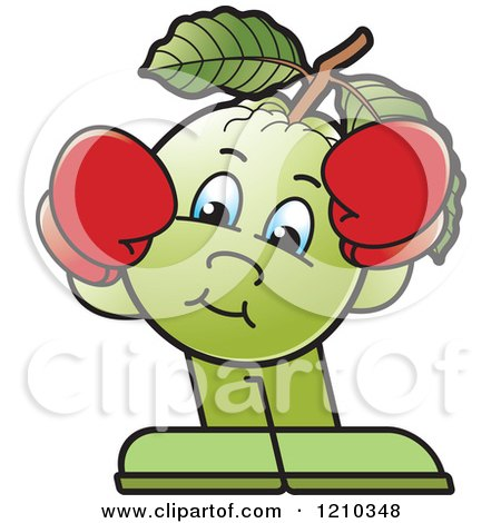Clipart of a Guava Mascot Wearing Boxing Gloves - Royalty Free Vector Illustration by Lal Perera